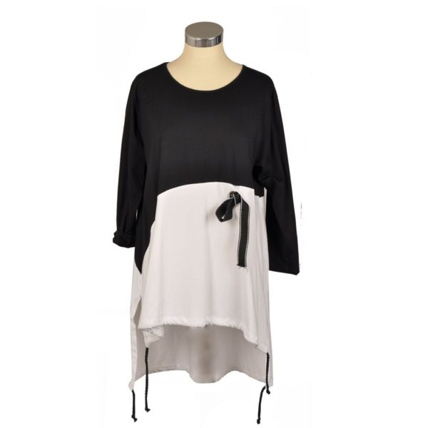 2-Tone asymmetrical drawstring top