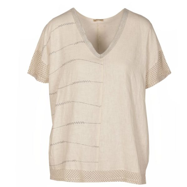 Net lurex v-neck top