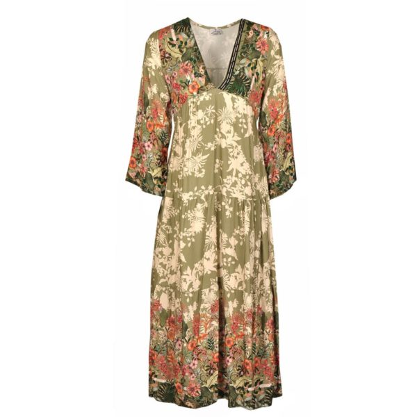 Patch floral maxi dress