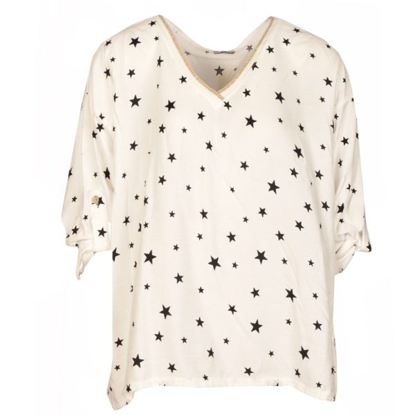 V-neck star print boxy top