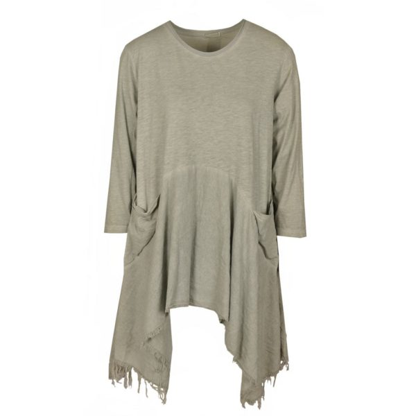 2 textured pocket raw hem tunic