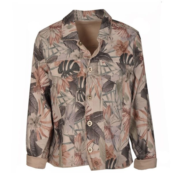 Reversible leaf print jacket