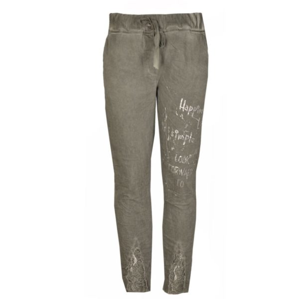 Foil words lace insert pants