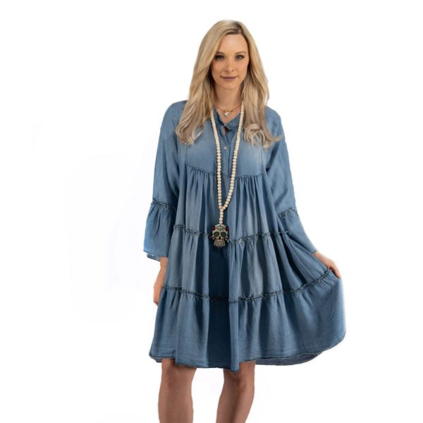 Tiered denim dress