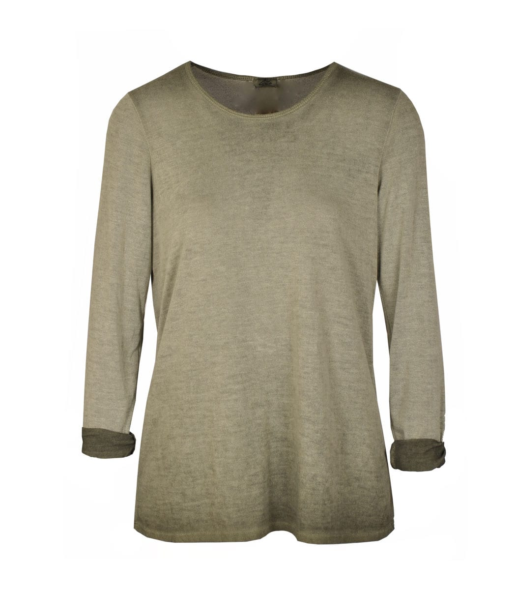 Fine knit washed long sleeve top