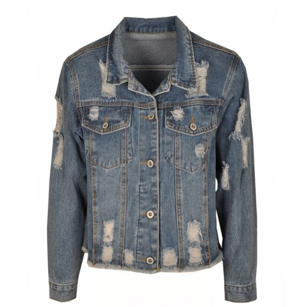 Raw-hem ribbed denim jacket