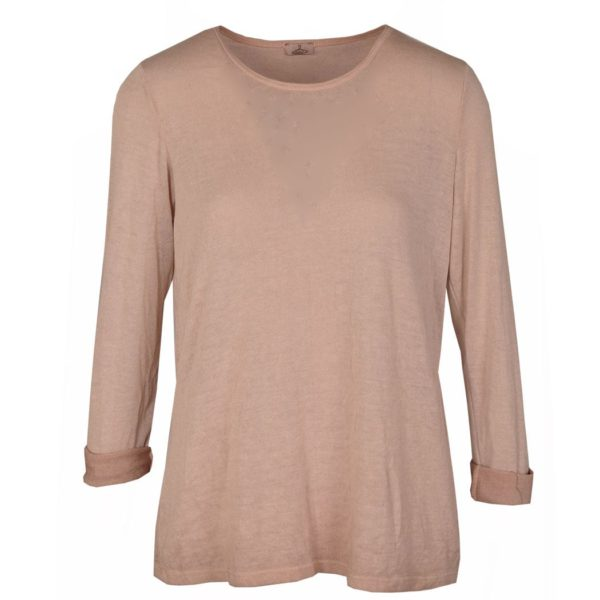 Washed long sleeve fine knit top
