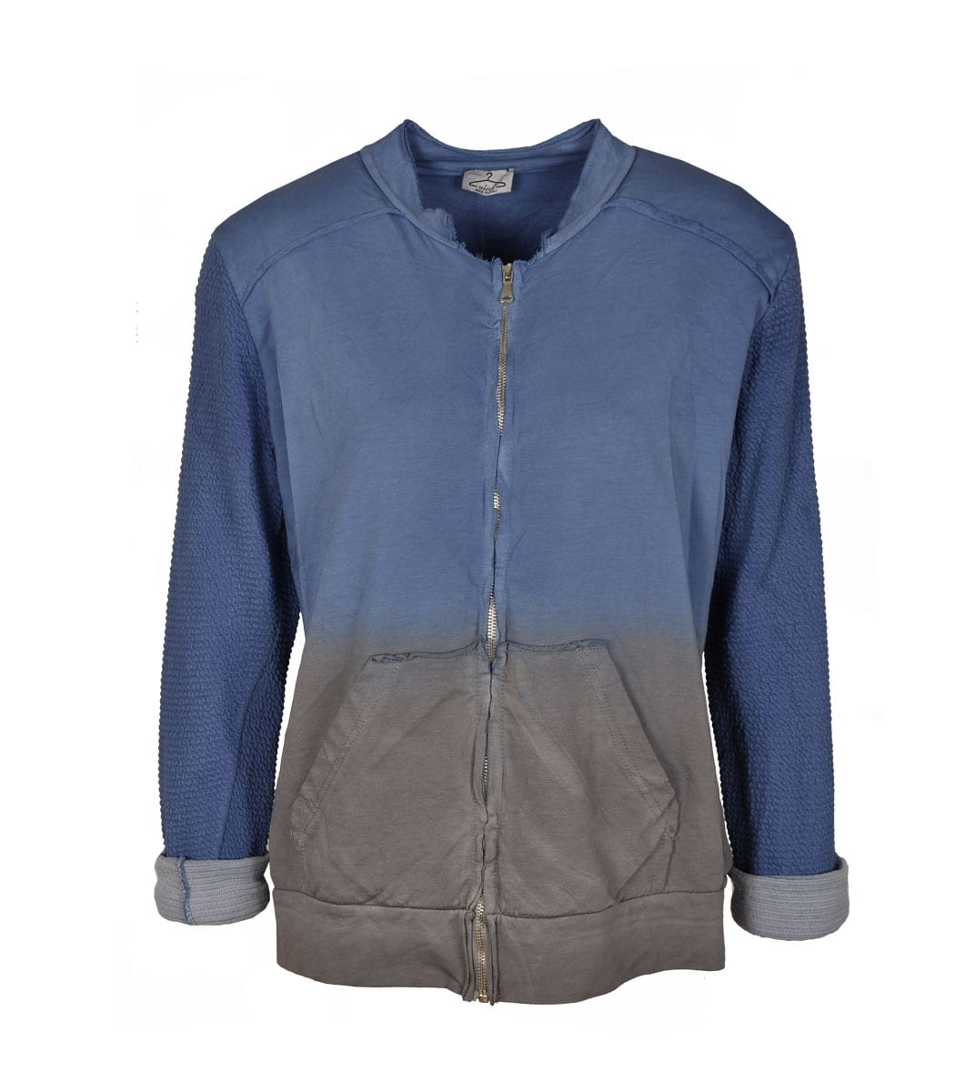 Ombre ribbed sleeve track jacket