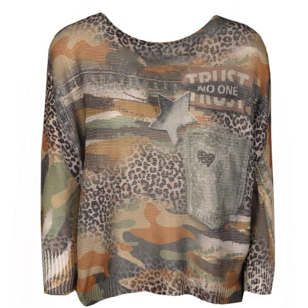 Camou animal print knit top