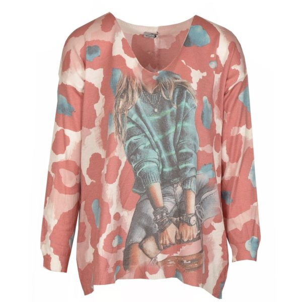 Camo lady knit top