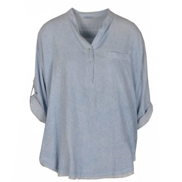 Linen placket boxy shirt