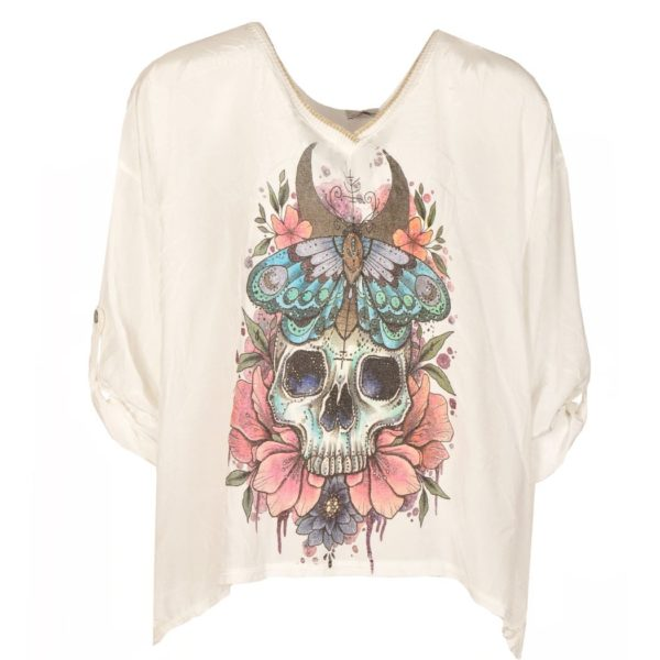 Skull butterfly v-neck top
