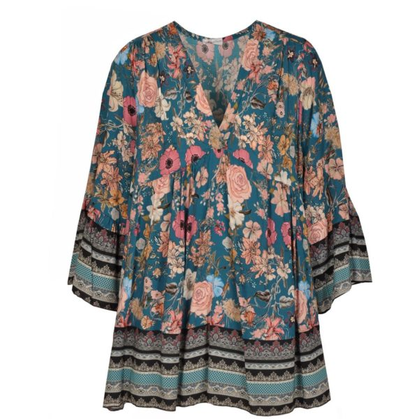 Floral baby doll kaftan top