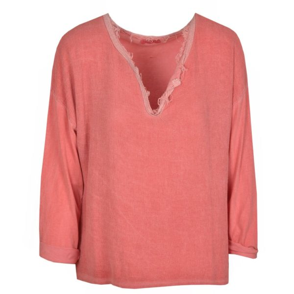 2-Textured linen v-neck top