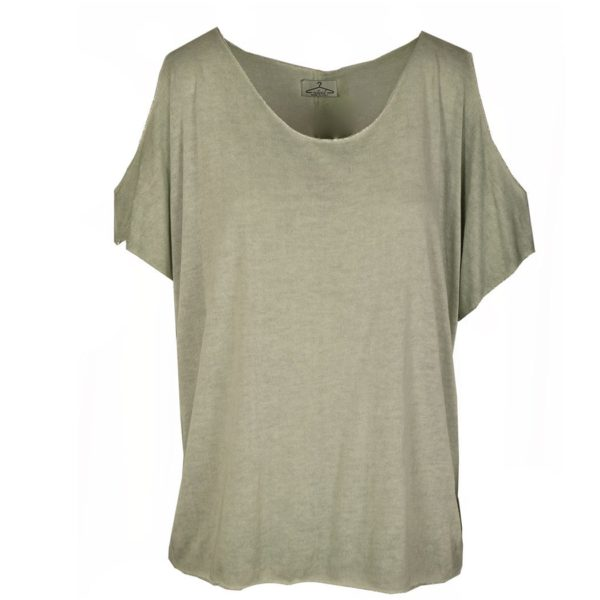 Cold shoulder fine knit top