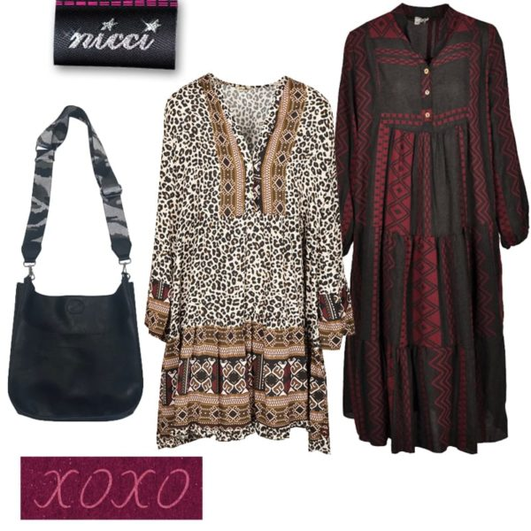 Aztec border animal print dress