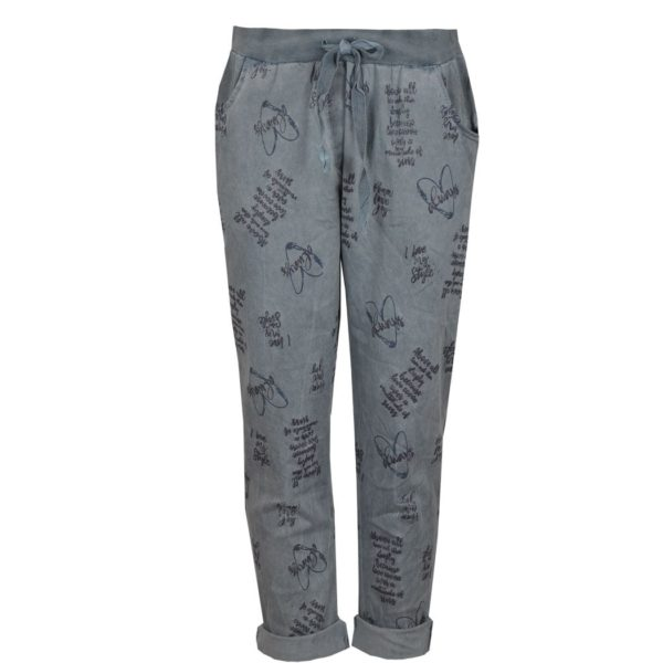 2-Textured word print drawstring pants