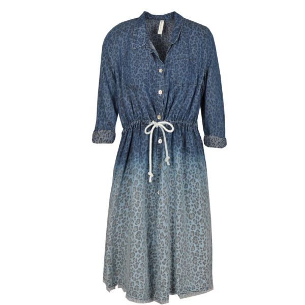 Animal print ombre denim dress