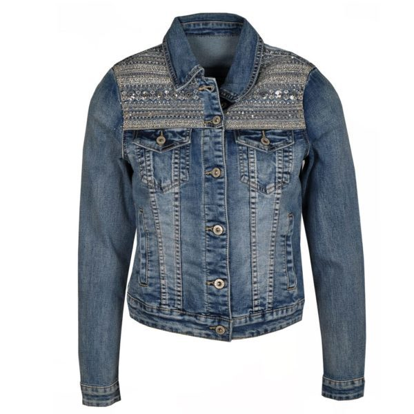 Beaded yoke denim jacket