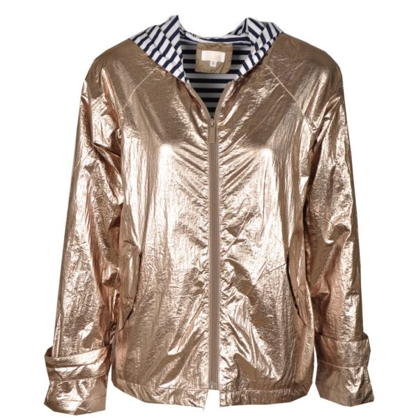 Striped lining metallic bomber jacket