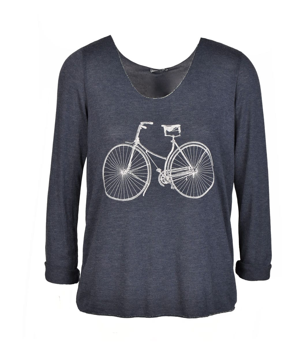 Long sleeve bicycle print knit top