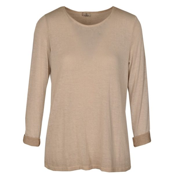 Basic long sleeve washed knit top