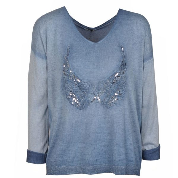 Sequin wing knit top