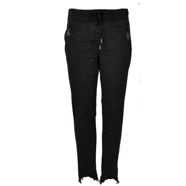 Raw-edge zip pocket pants