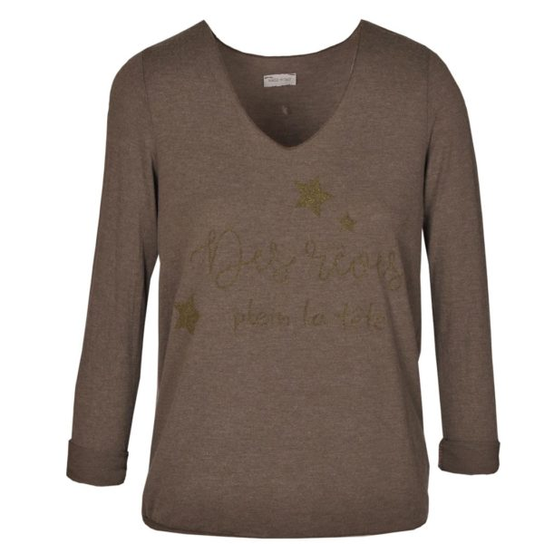 Long sleeve gold word print top