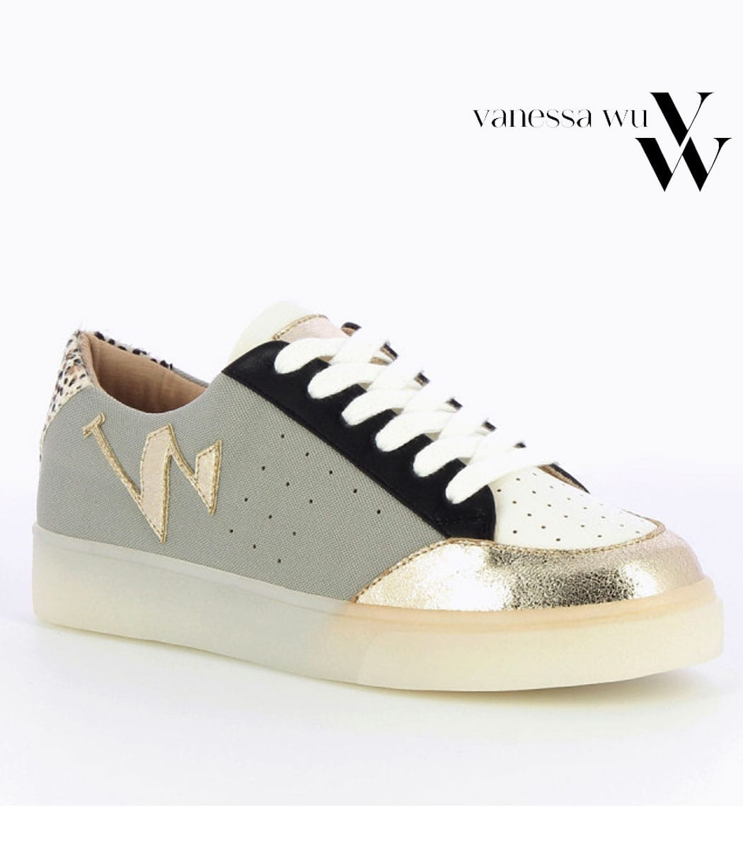 Vanessa Wu lace-up patch sneaker