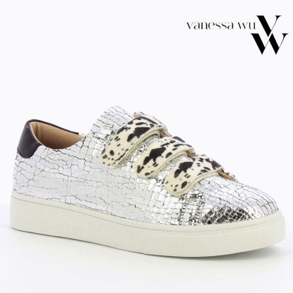 Vanessa Wu animal strap cracked effect sneaker