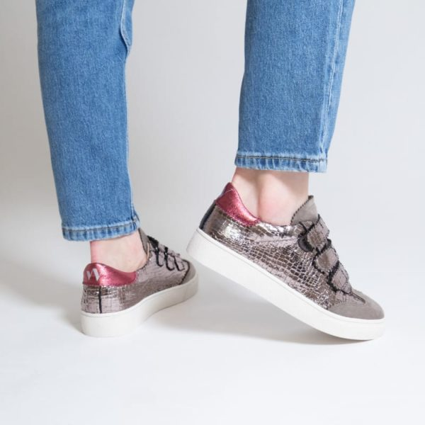 Vanessa Wu cracked effect pewter sneaker