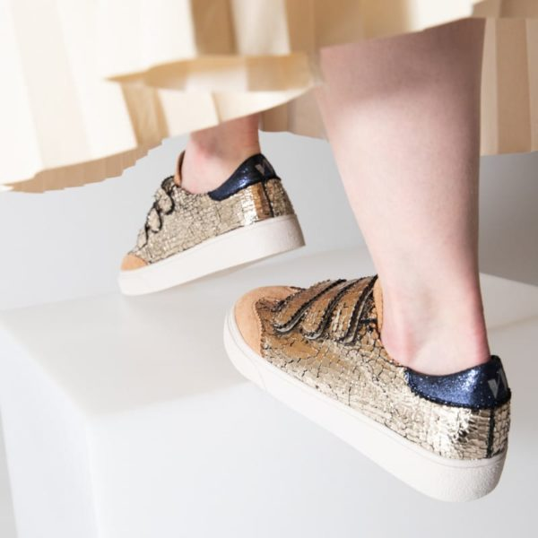 Vanessa Wu cracked effect gold sneaker
