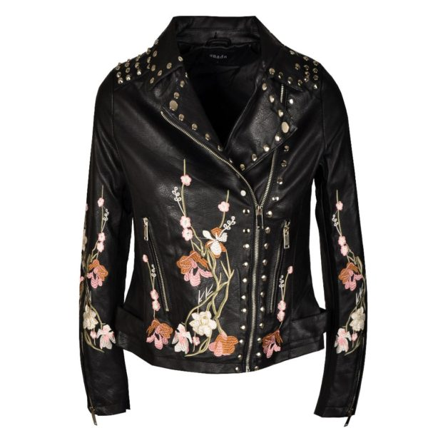 Floral embroidered stud biker jacket