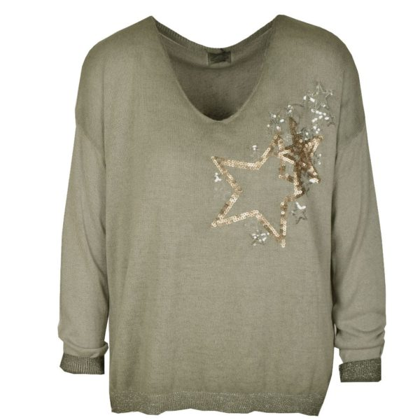 Sequin star fine knit long sleeve top