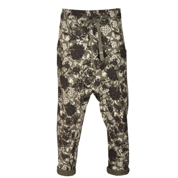 Floral fleece harem pants