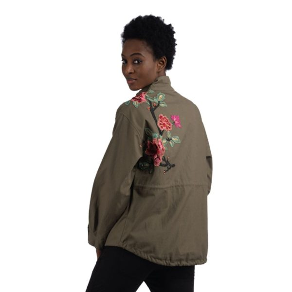 Embroidered parka jacket