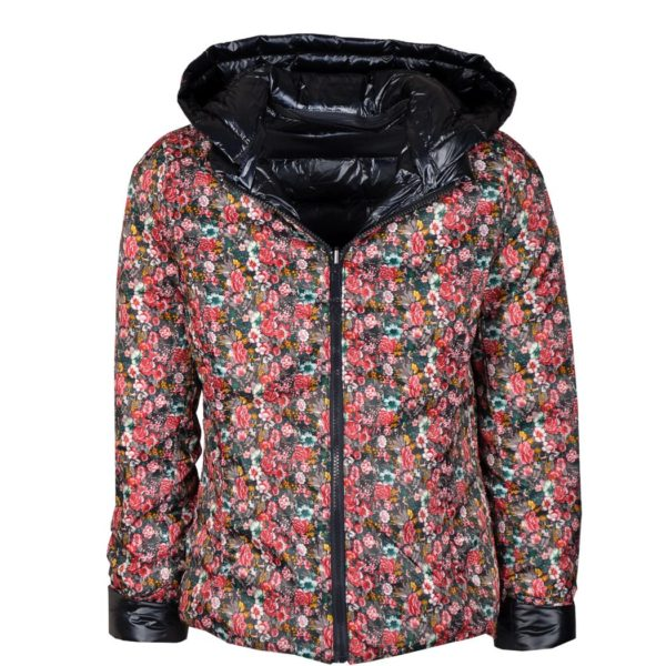 Floral reversible puffer jacket