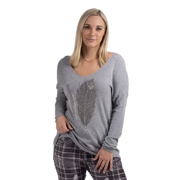 Diamante feather fine knit top