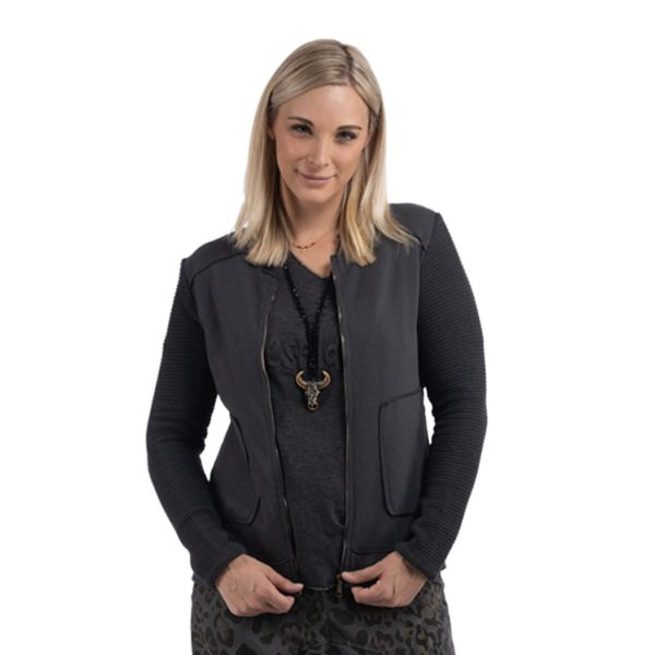 Zip fleece moto jacket