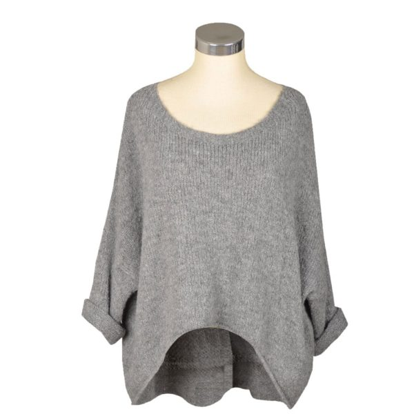 Hi-lo batwing knit top