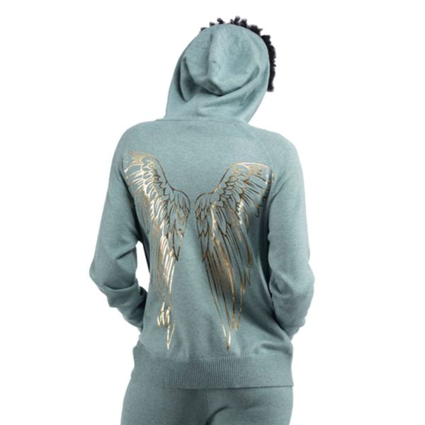 Foil print wings hooded top