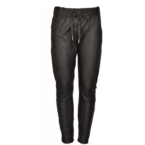 Leatherette drawstring pants