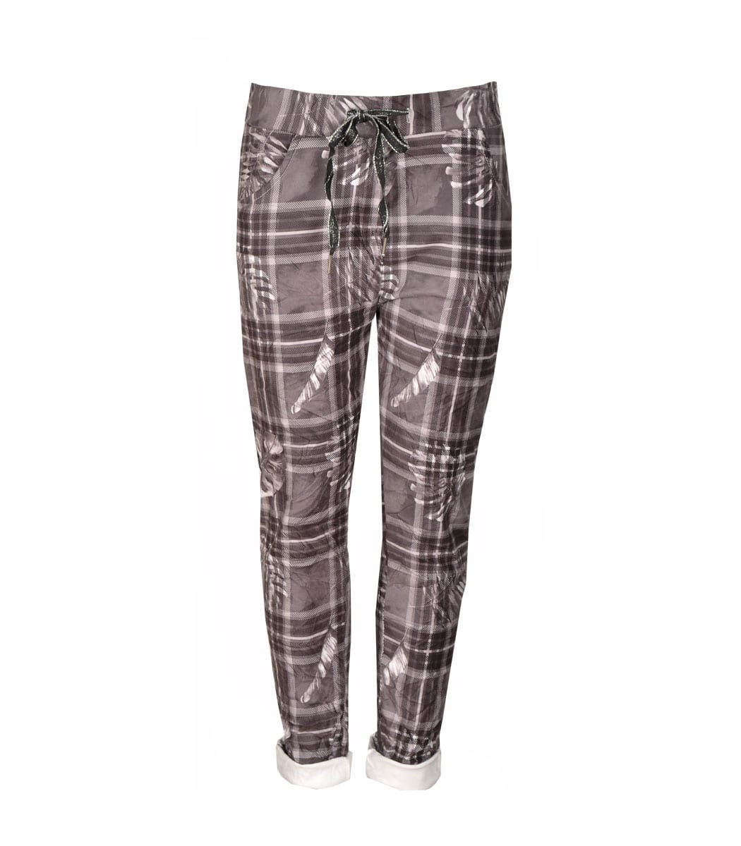 Suedette checked pants