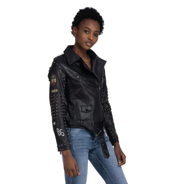 Badge Stud sleeve biker jacket