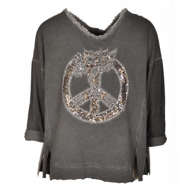 Sequin peace sign top