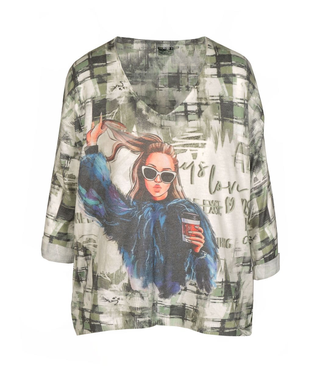 Sunglasses lady print knit top