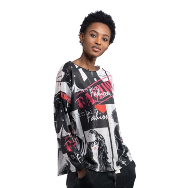 Fashion black print long sleeve top