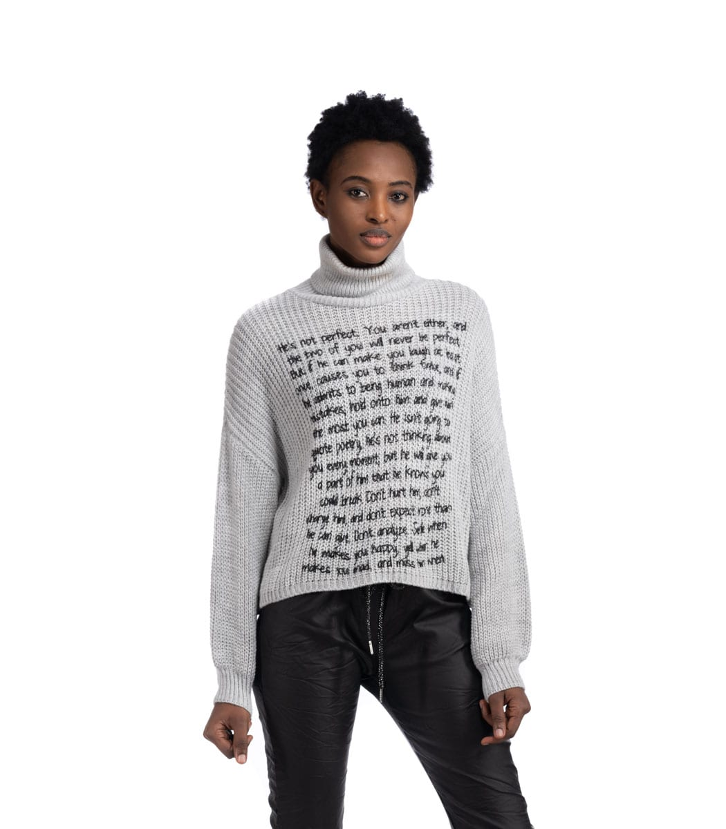 Word print poloneck top
