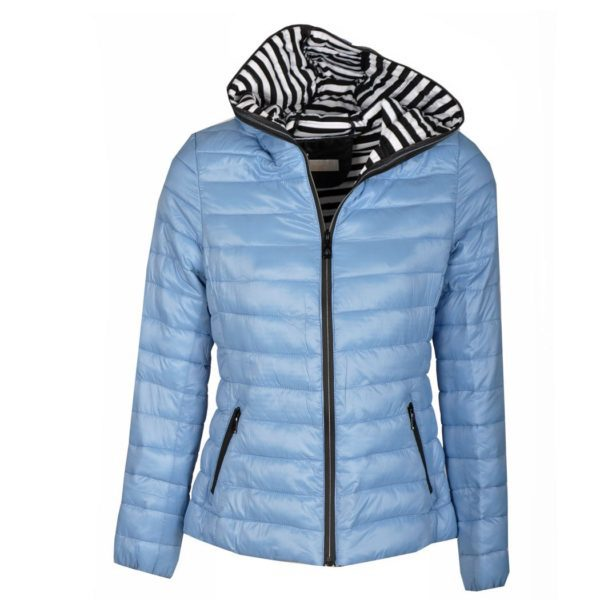 Striped lining puff jacket